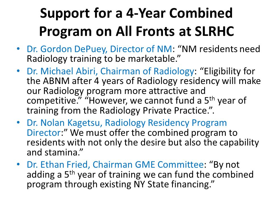 Support for a 4-Year Combined Program on All Fronts at SLRHC