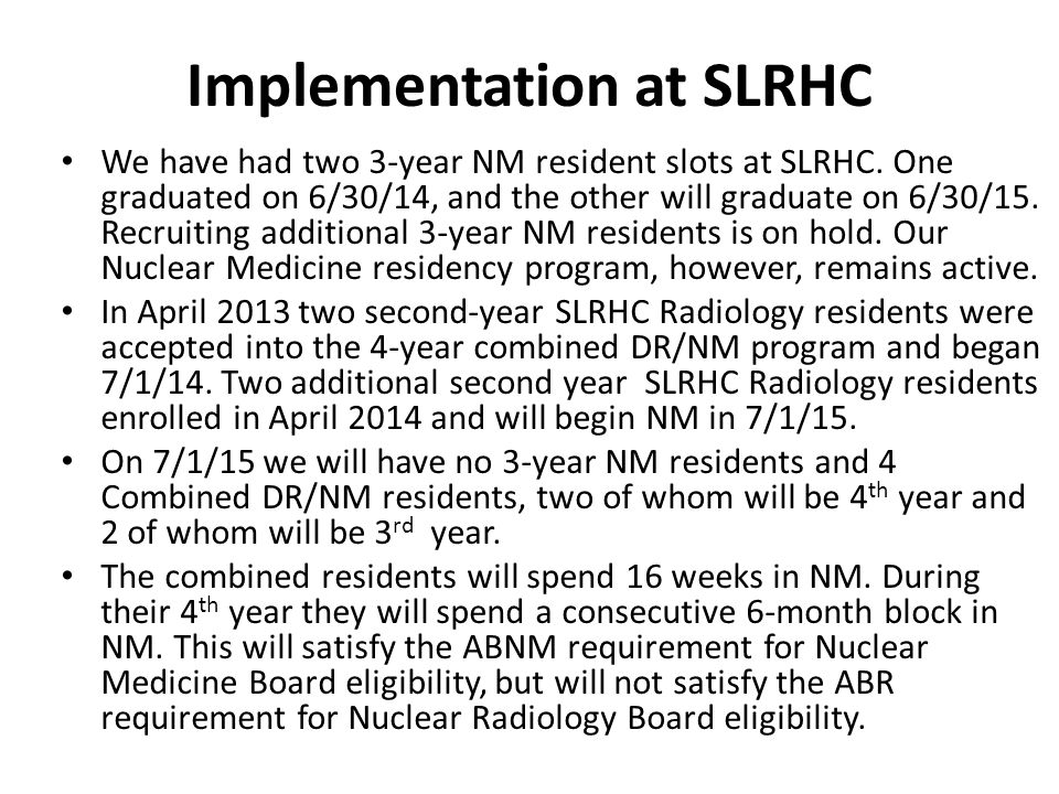 Implementation at SLRHC