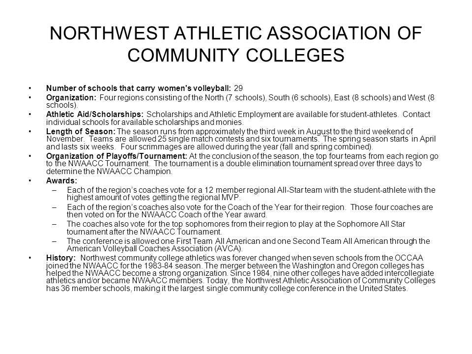 NORTHWEST ATHLETIC ASSOCIATION OF COMMUNITY COLLEGES