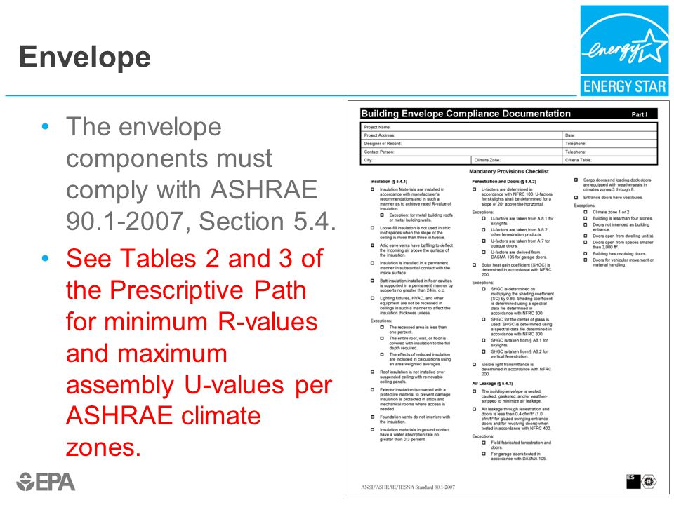 Envelope The envelope components must comply with ASHRAE 90.1-2007, Section 5.4.