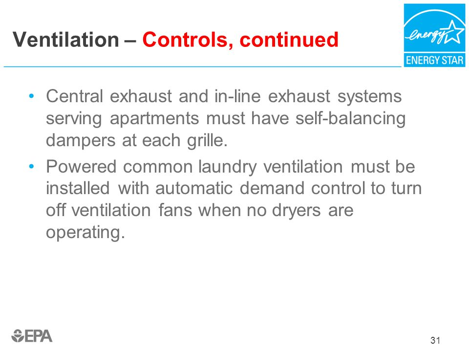 Ventilation – Controls, continued