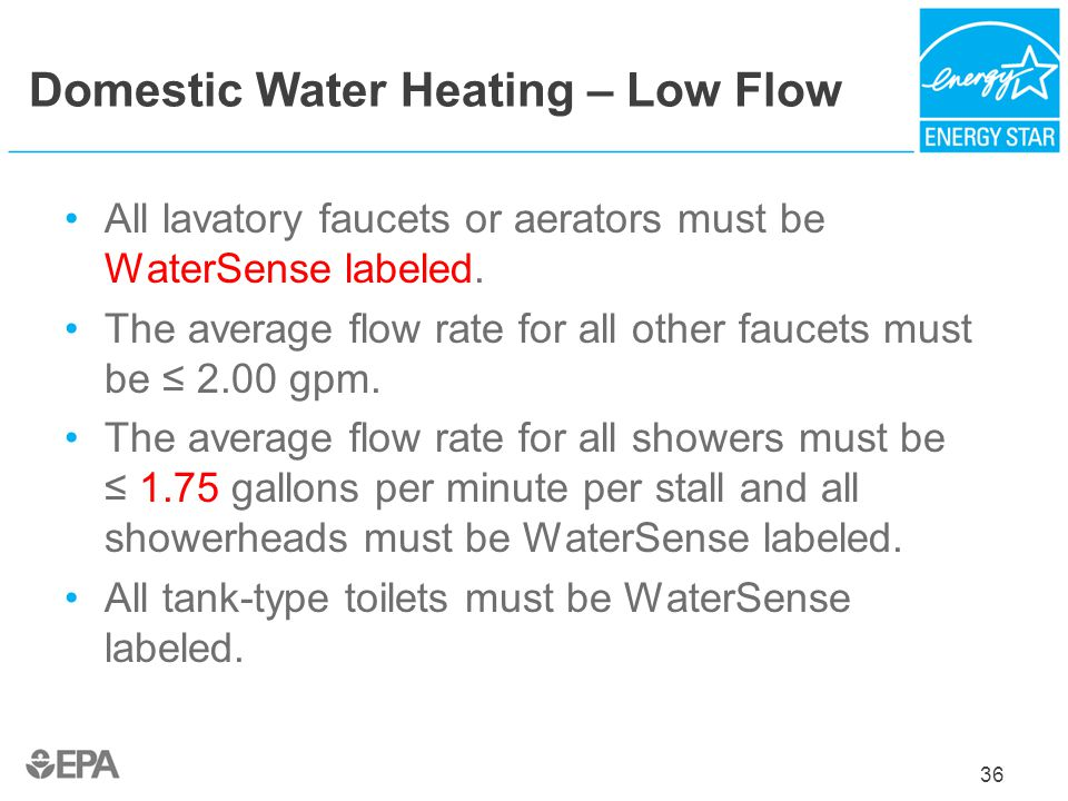 Domestic Water Heating – Low Flow