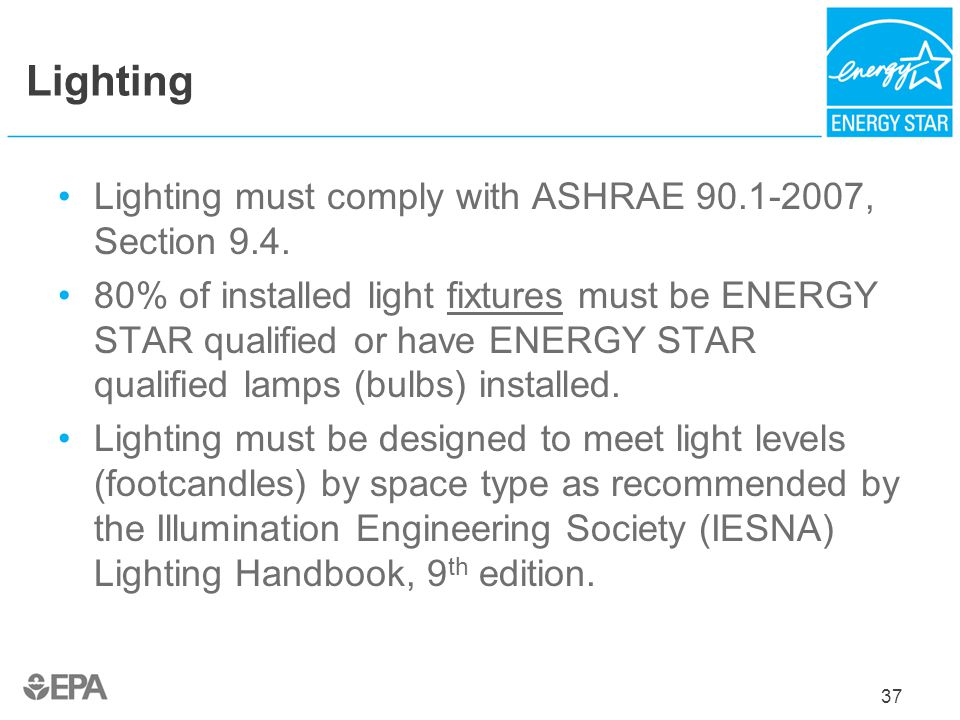 Lighting Lighting must comply with ASHRAE 90.1-2007, Section 9.4.