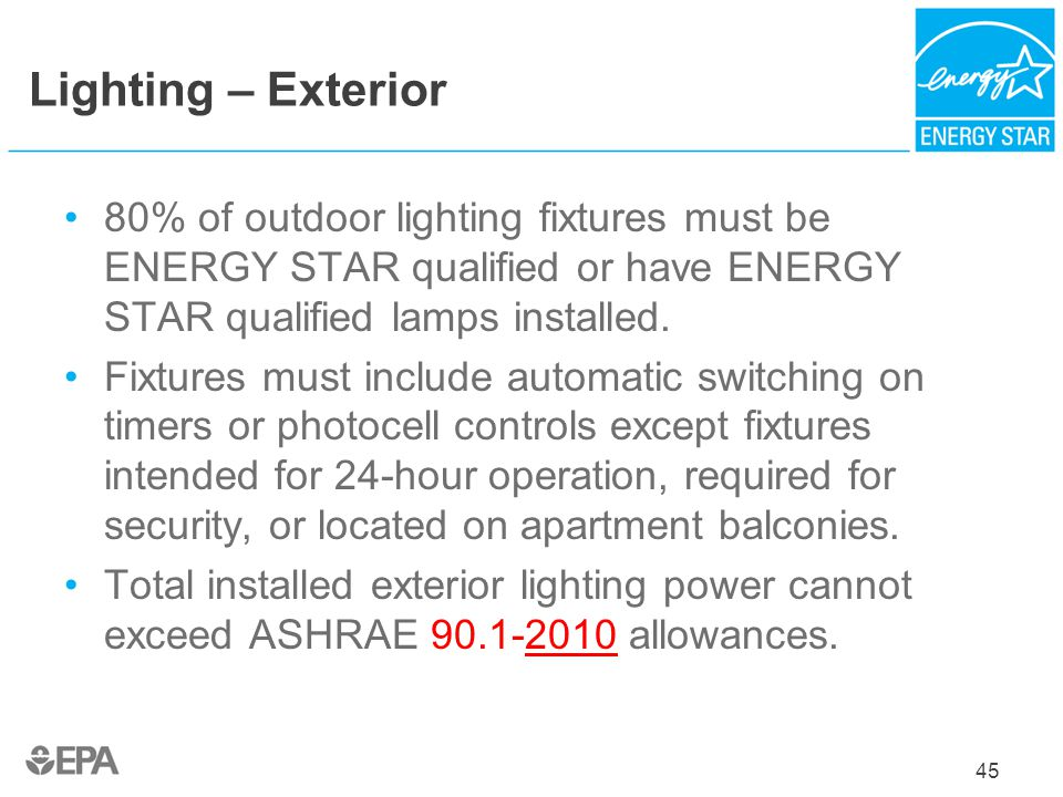 Lighting – Exterior 80% of outdoor lighting fixtures must be ENERGY STAR qualified or have ENERGY STAR qualified lamps installed.