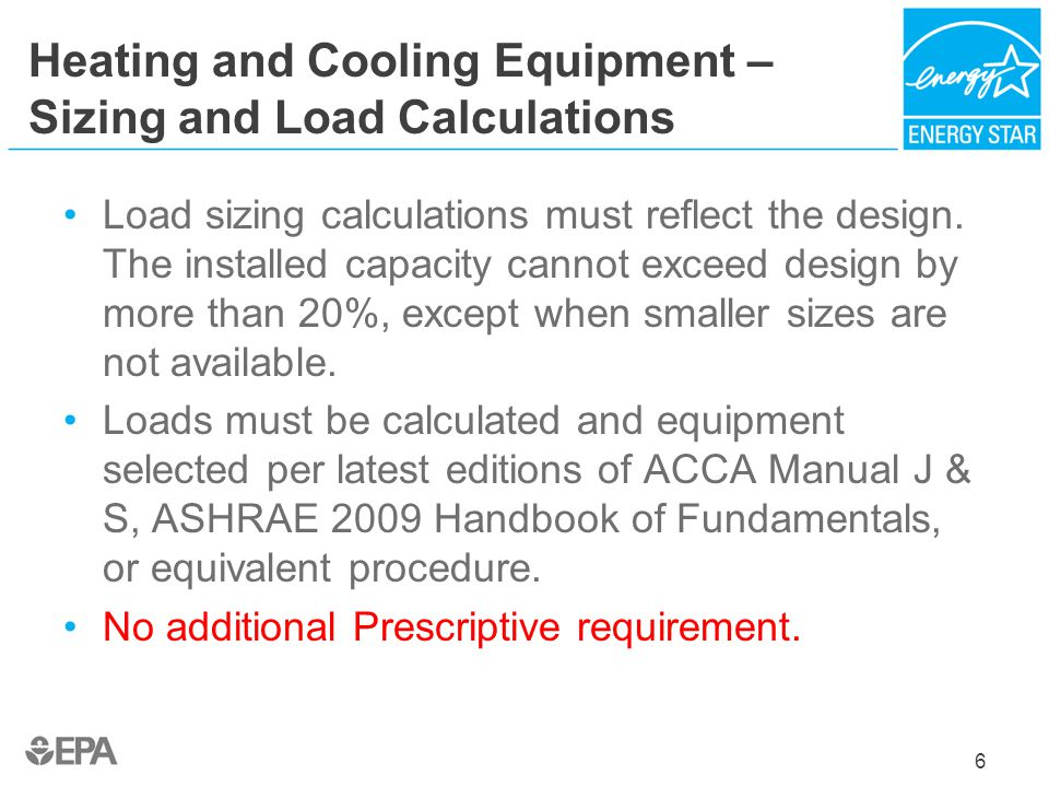 Heating and Cooling Equipment – Sizing and Load Calculations