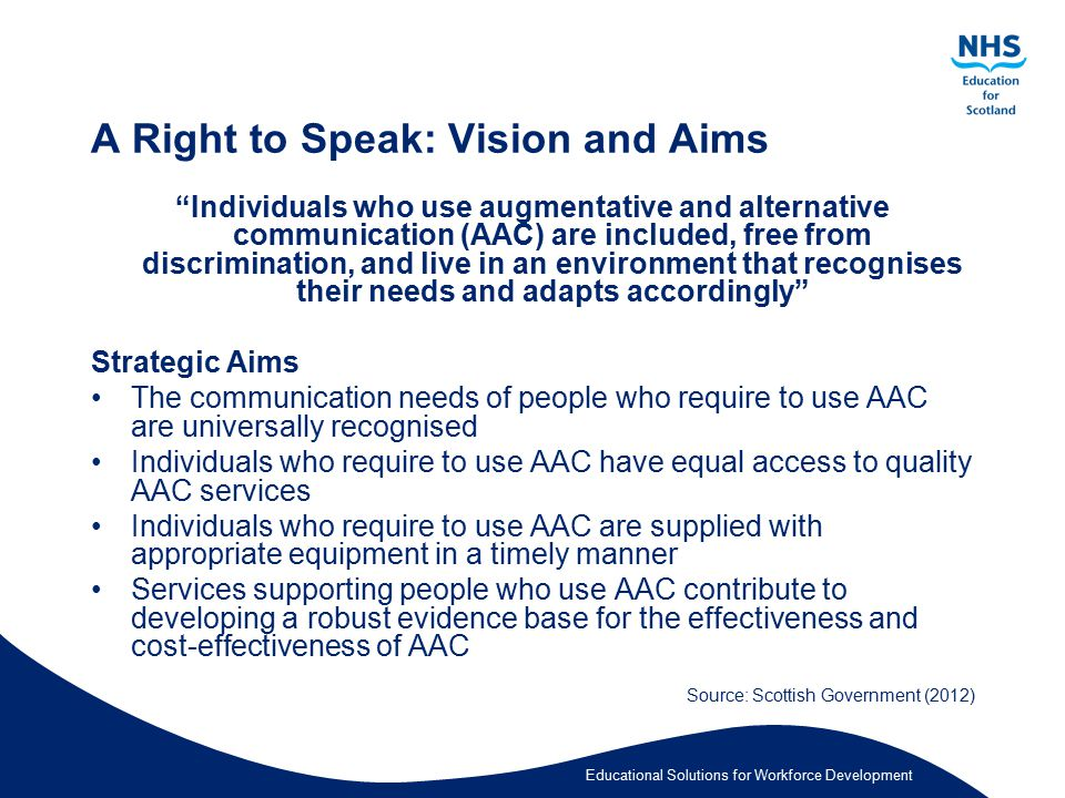 A Right to Speak: Vision and Aims