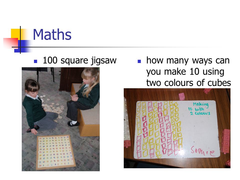Maths 100 square jigsaw. how many ways can you make 10 using two colours of cubes.