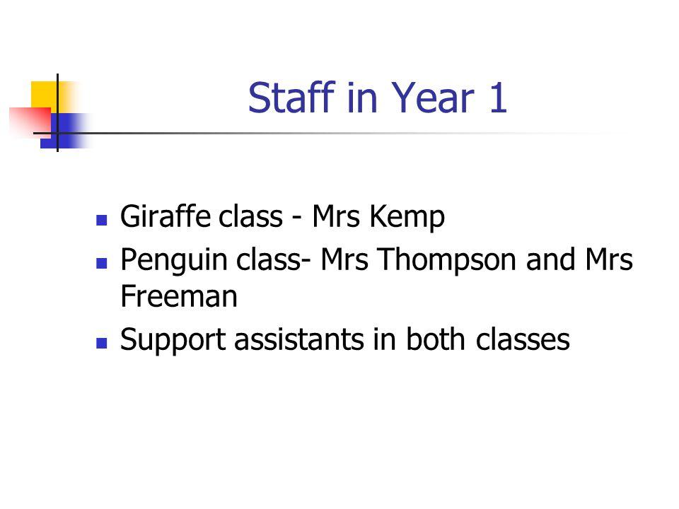 Staff in Year 1 Giraffe class - Mrs Kemp