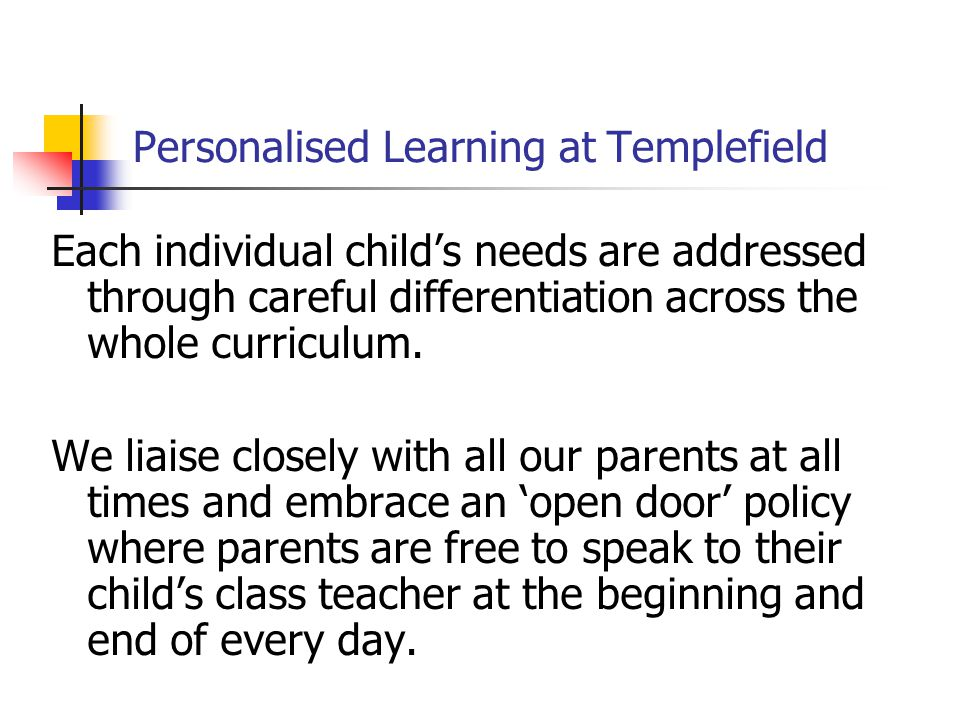 Personalised Learning at Templefield