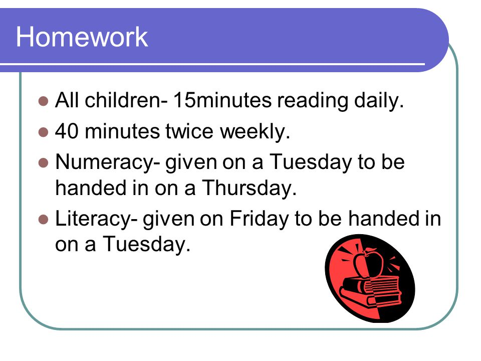 Homework All children- 15minutes reading daily.