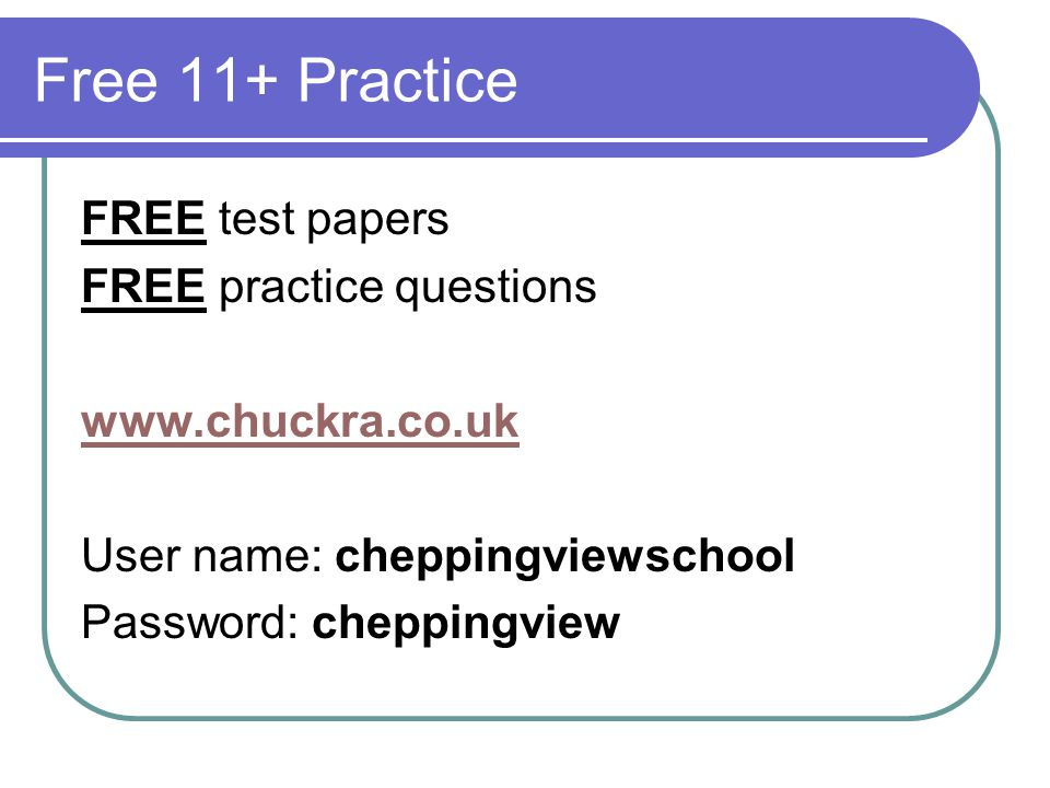 Free 11+ Practice FREE test papers FREE practice questions
