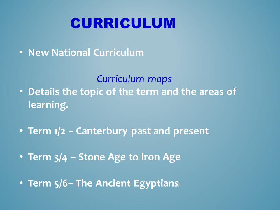 Curriculum New National Curriculum Curriculum maps
