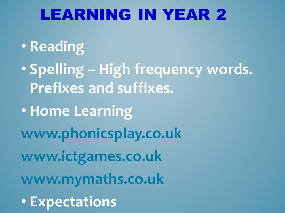 Learning in Year 2 Reading. Spelling – High frequency words. Prefixes and suffixes. Home Learning.
