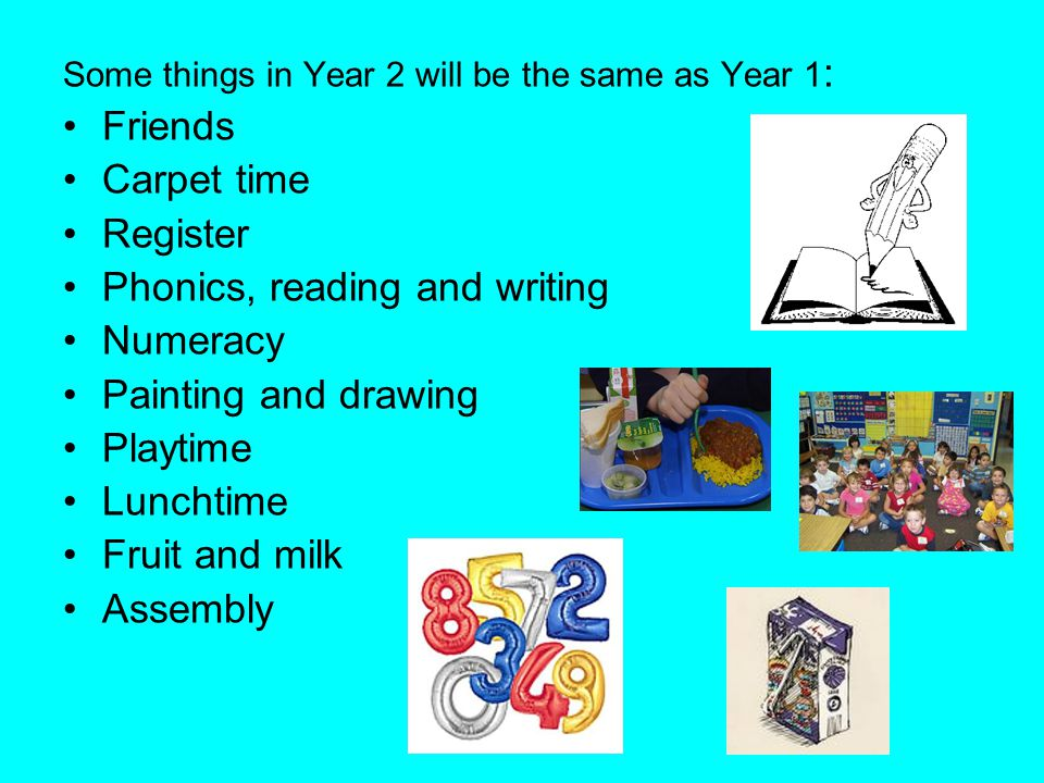 Phonics, reading and writing Numeracy Painting and drawing Playtime