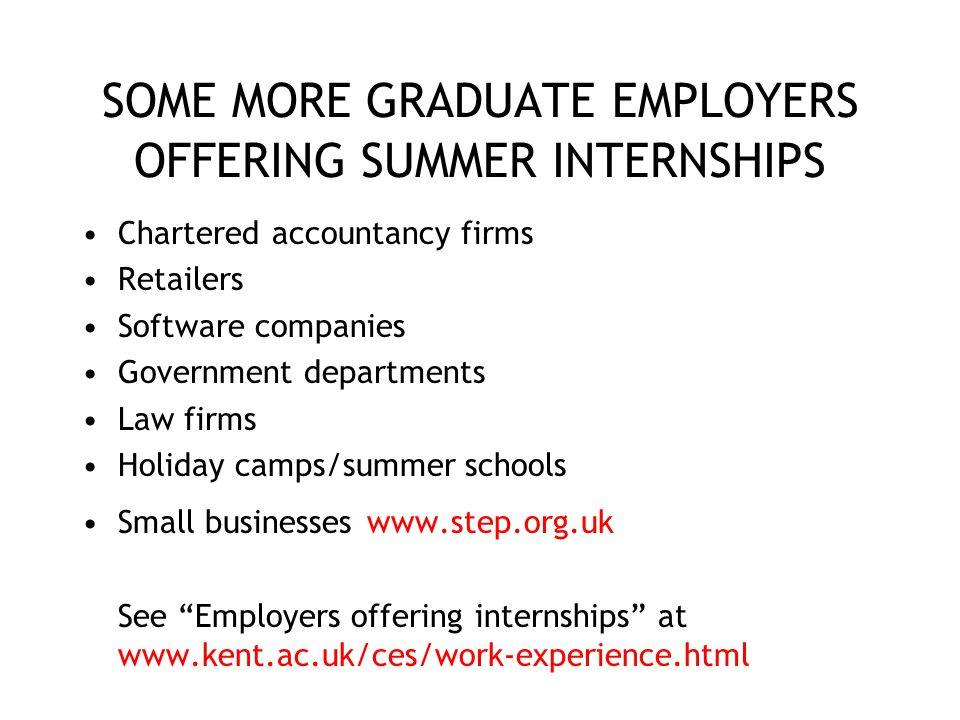 SOME MORE GRADUATE EMPLOYERS OFFERING SUMMER INTERNSHIPS