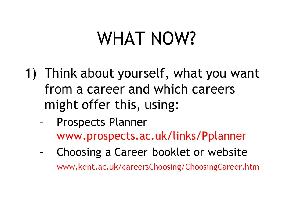 WHAT NOW Think about yourself, what you want from a career and which careers might offer this, using: