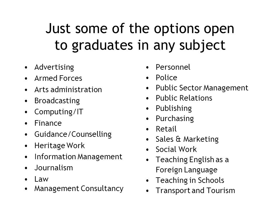 Just some of the options open to graduates in any subject