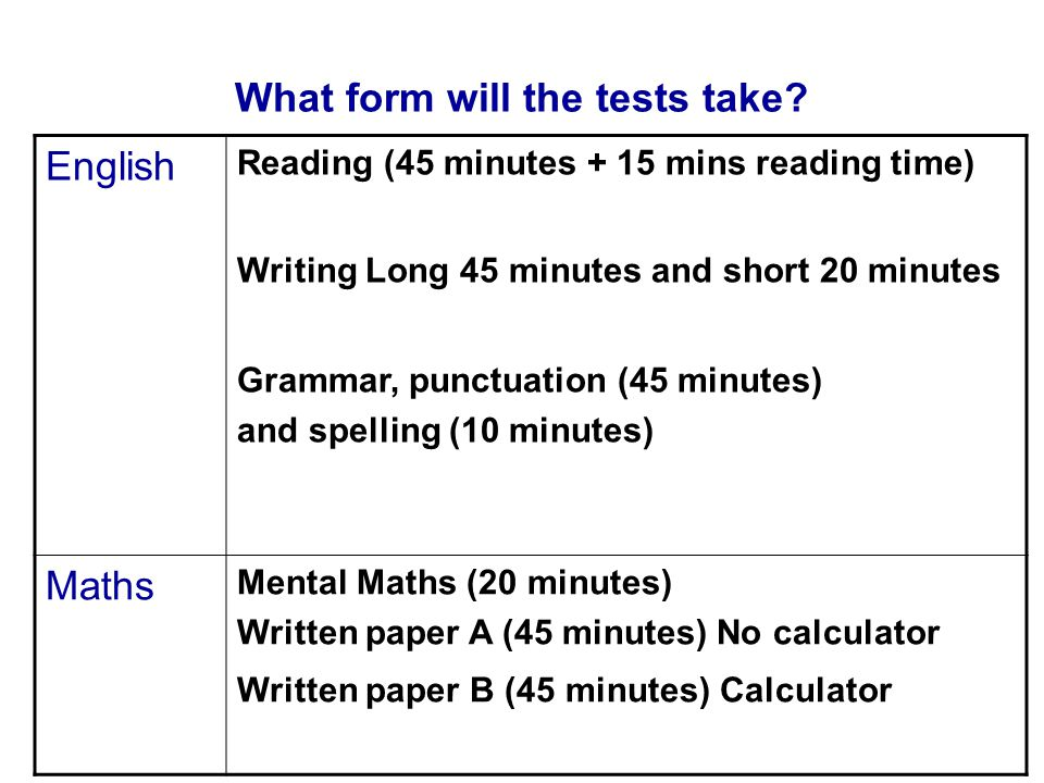 What form will the tests take