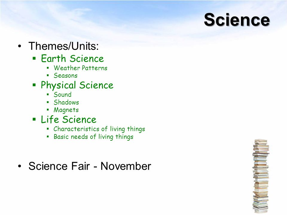 Science Themes/Units: Science Fair - November Earth Science