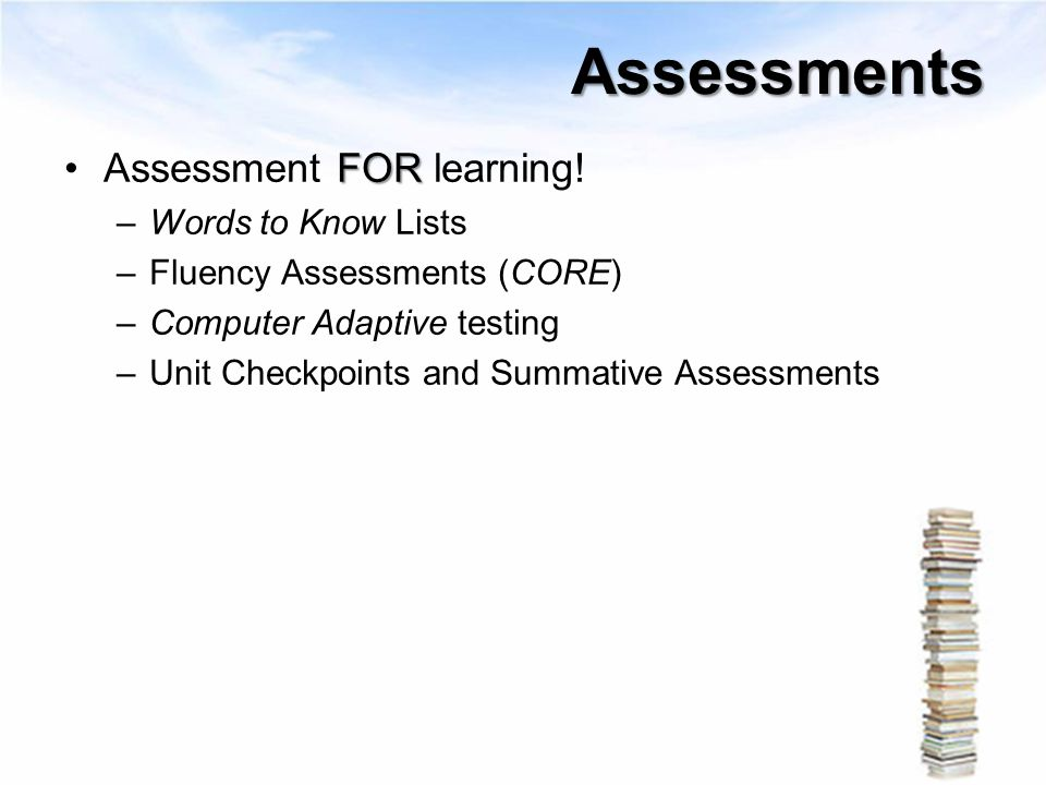 Assessments Assessment FOR learning! Words to Know Lists
