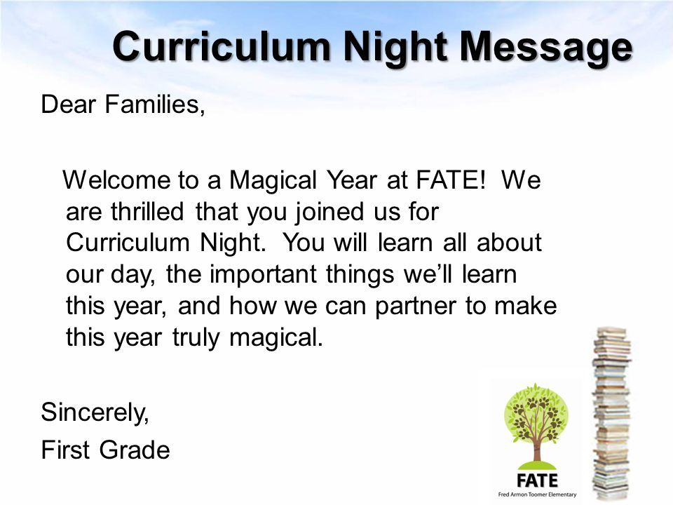 Curriculum Night Message