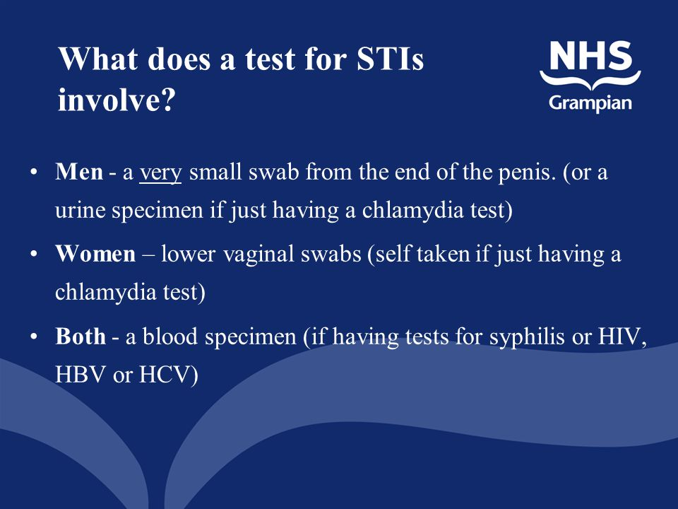 What does a test for STIs involve