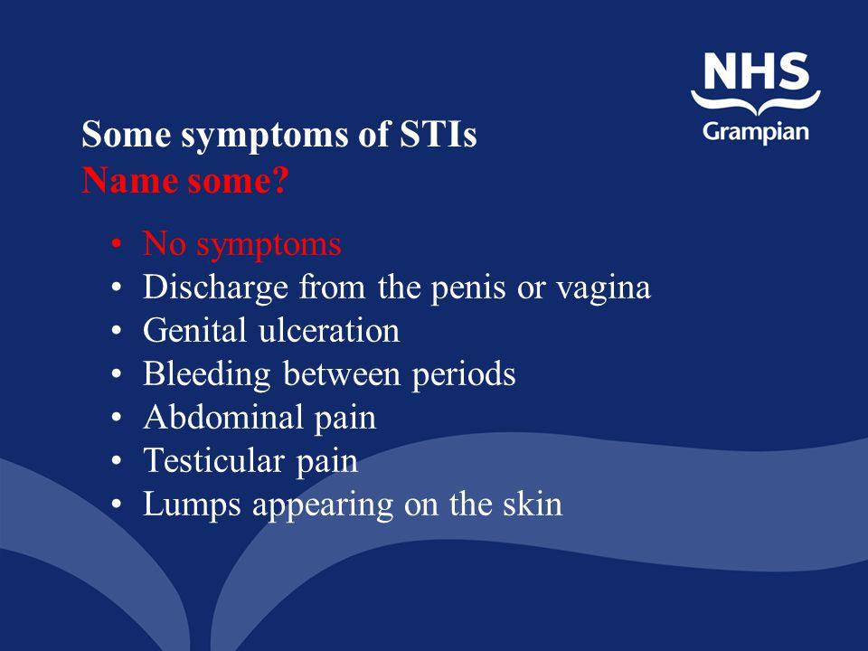 Some symptoms of STIs Name some