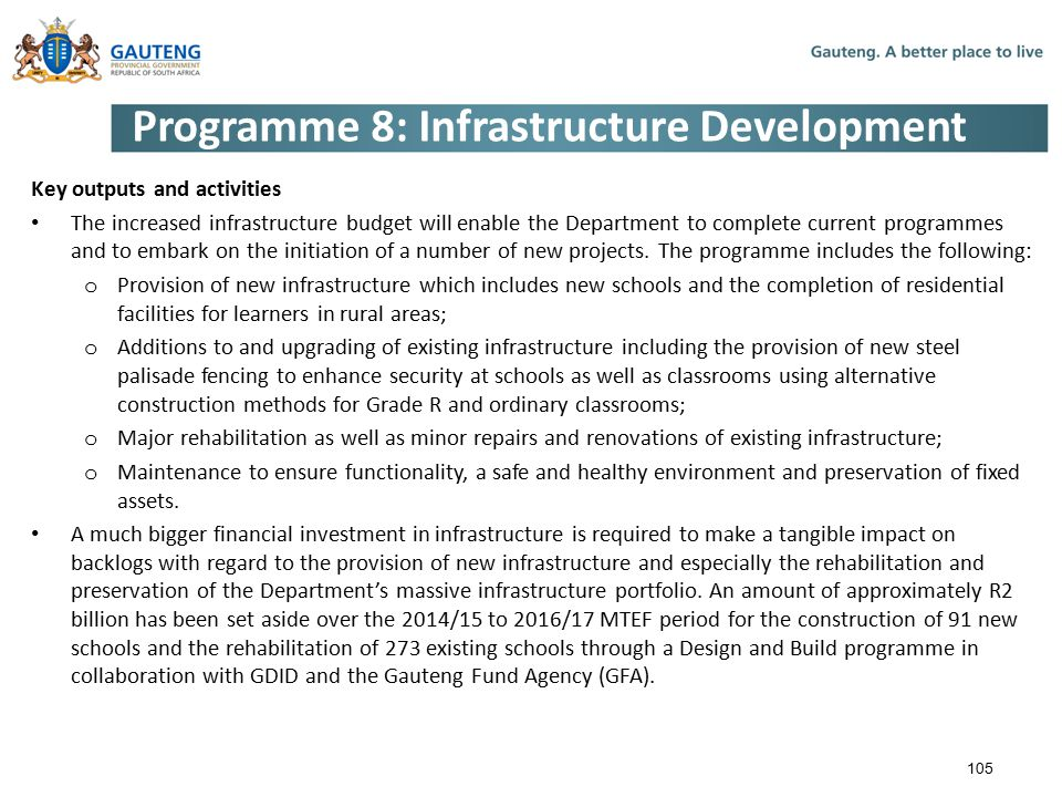 Programme 8: Infrastructure Development