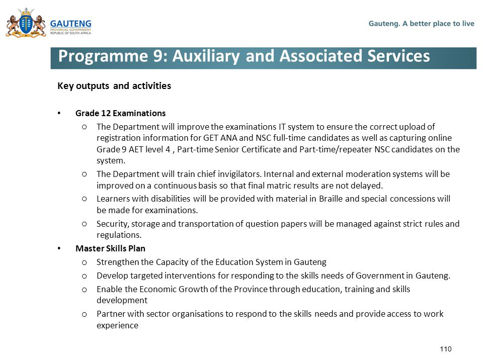 Programme 9: Auxiliary and Associated Services