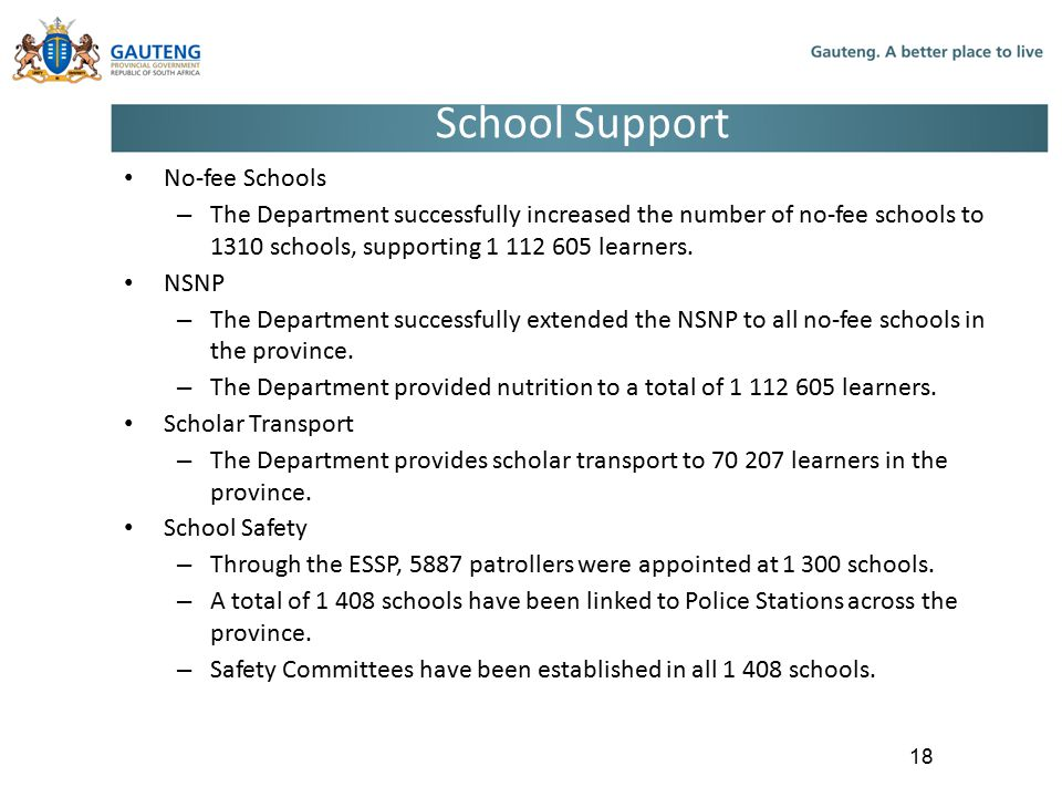 School Support No-fee Schools
