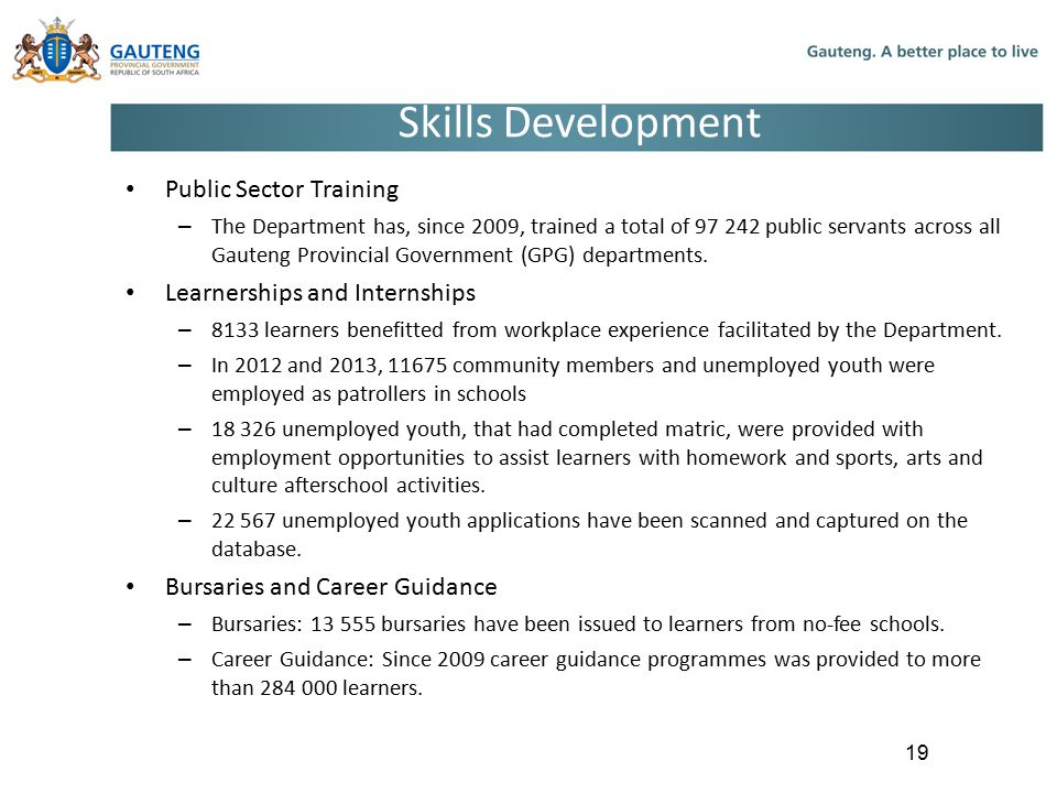 Skills Development Public Sector Training Learnerships and Internships