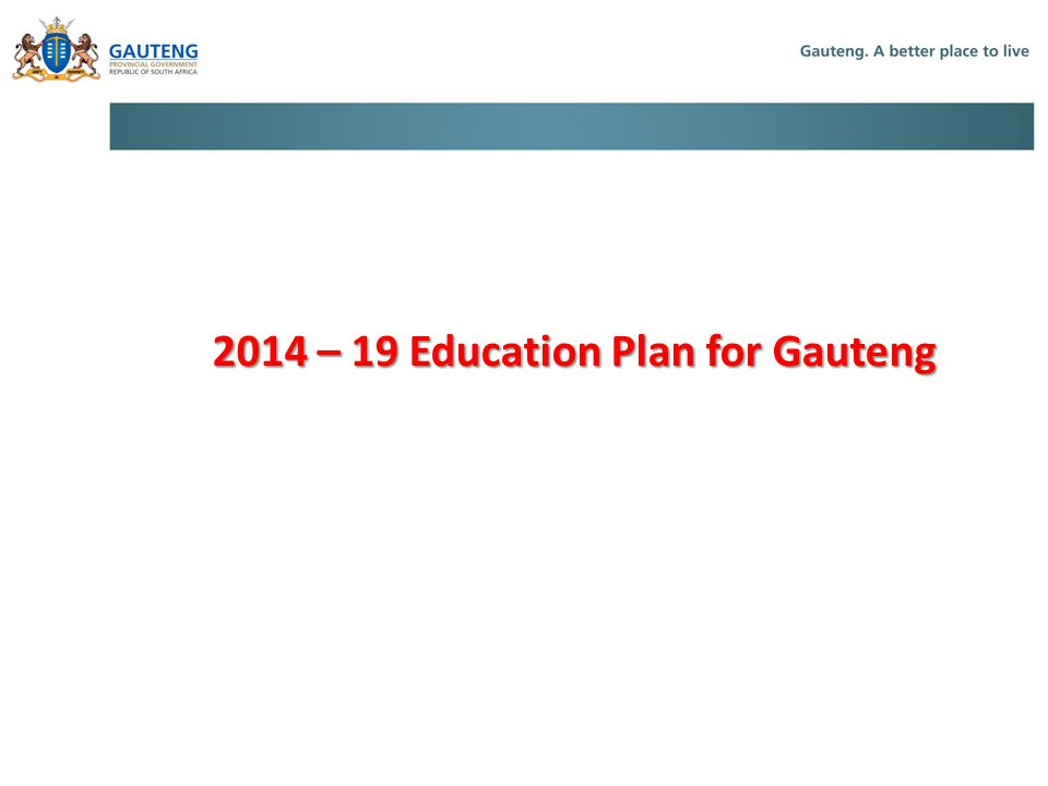 2014 – 19 Education Plan for Gauteng