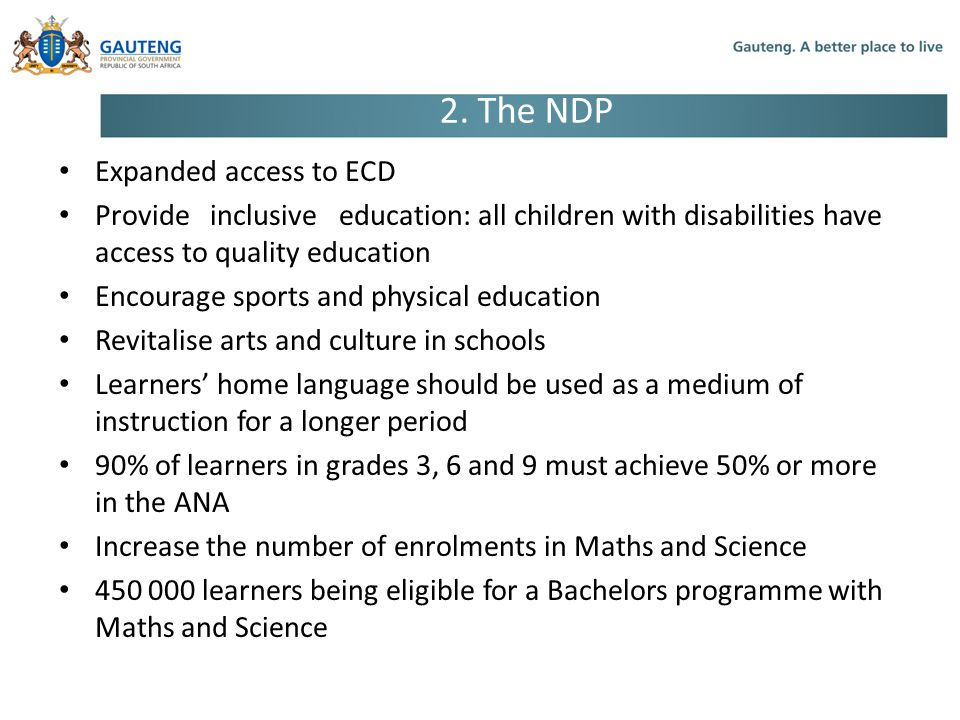 2. The NDP Expanded access to ECD