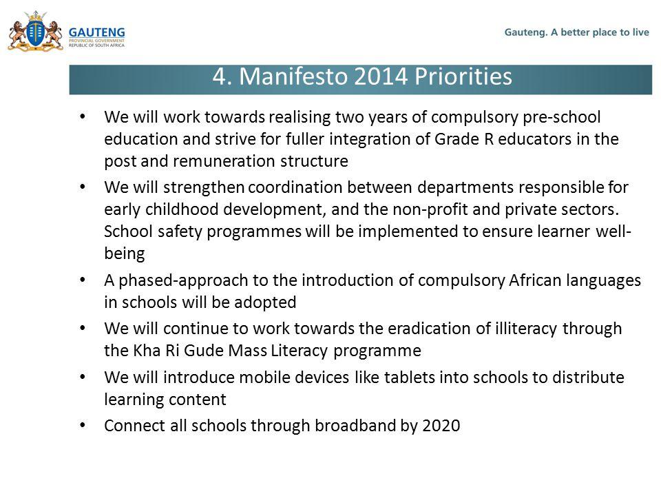 4. Manifesto 2014 Priorities