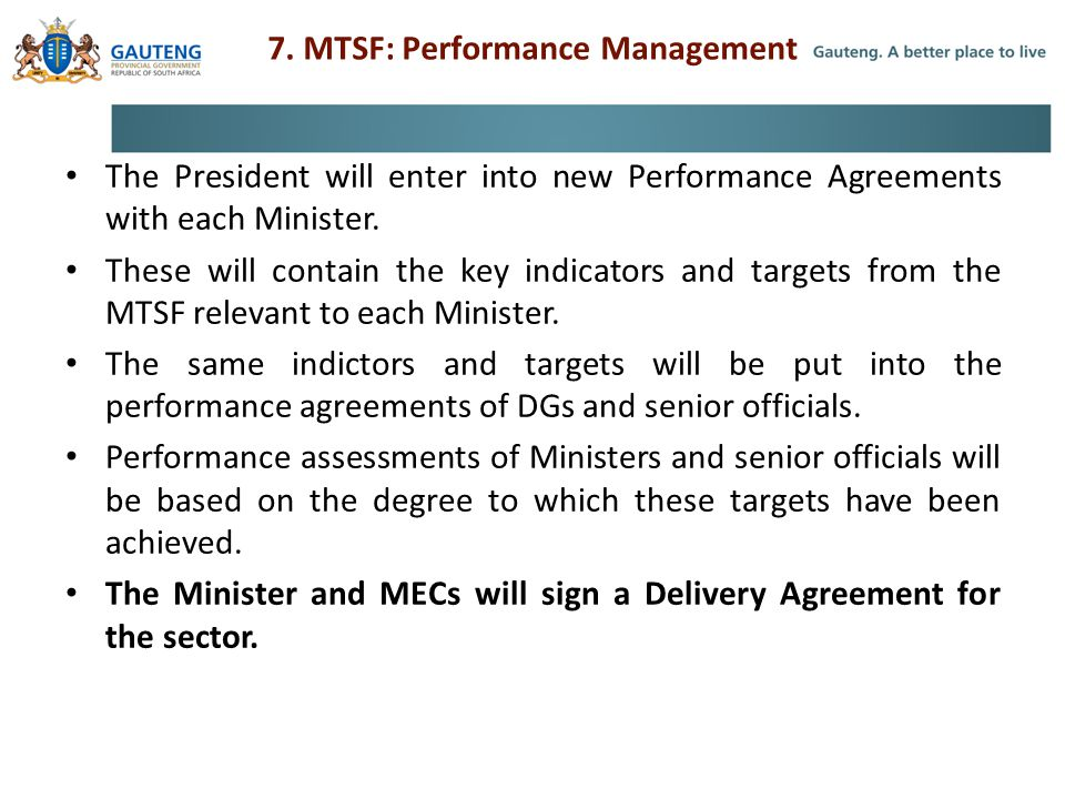 7. MTSF: Performance Management
