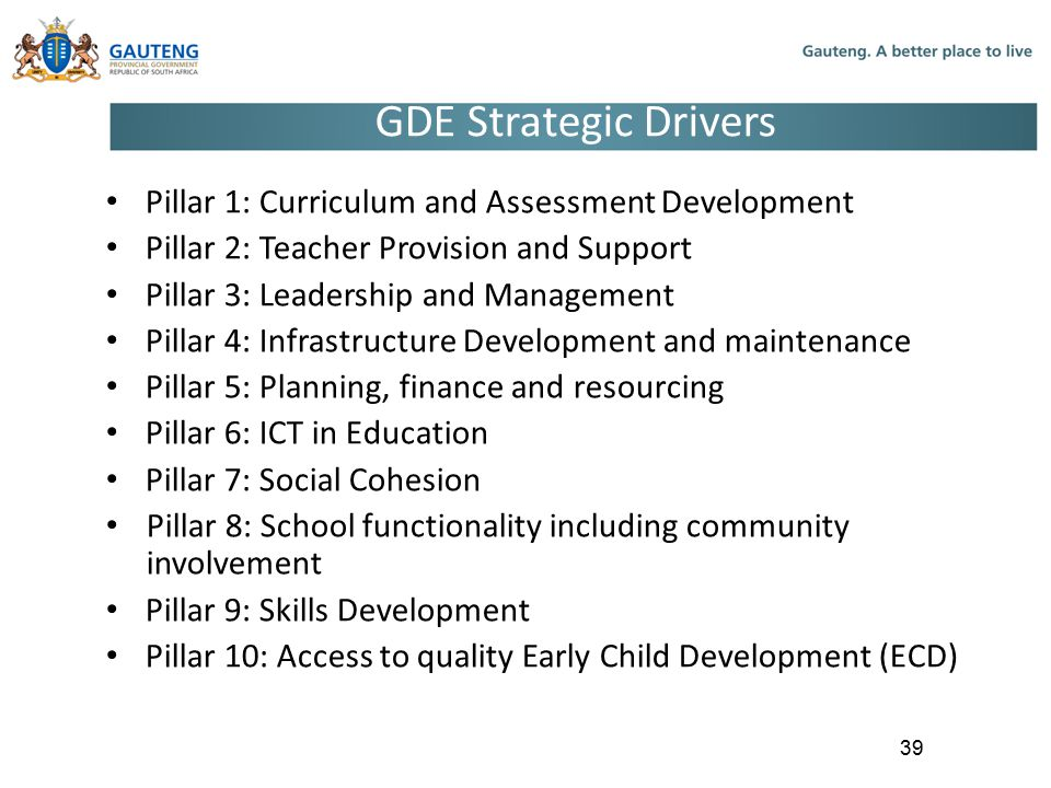 GDE Strategic Drivers Pillar 1: Curriculum and Assessment Development