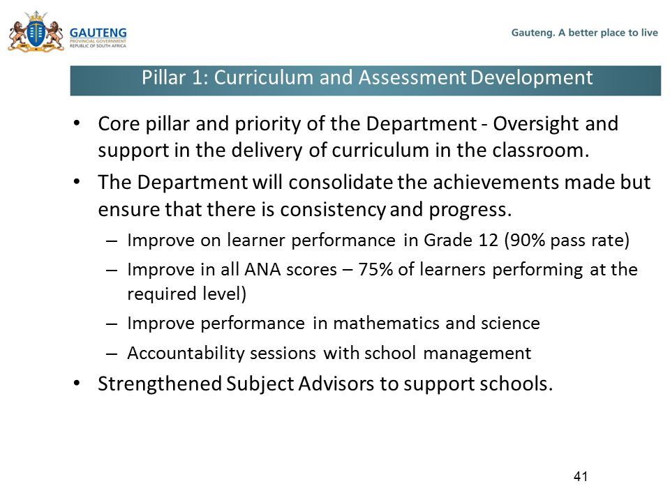Pillar 1: Curriculum and Assessment Development