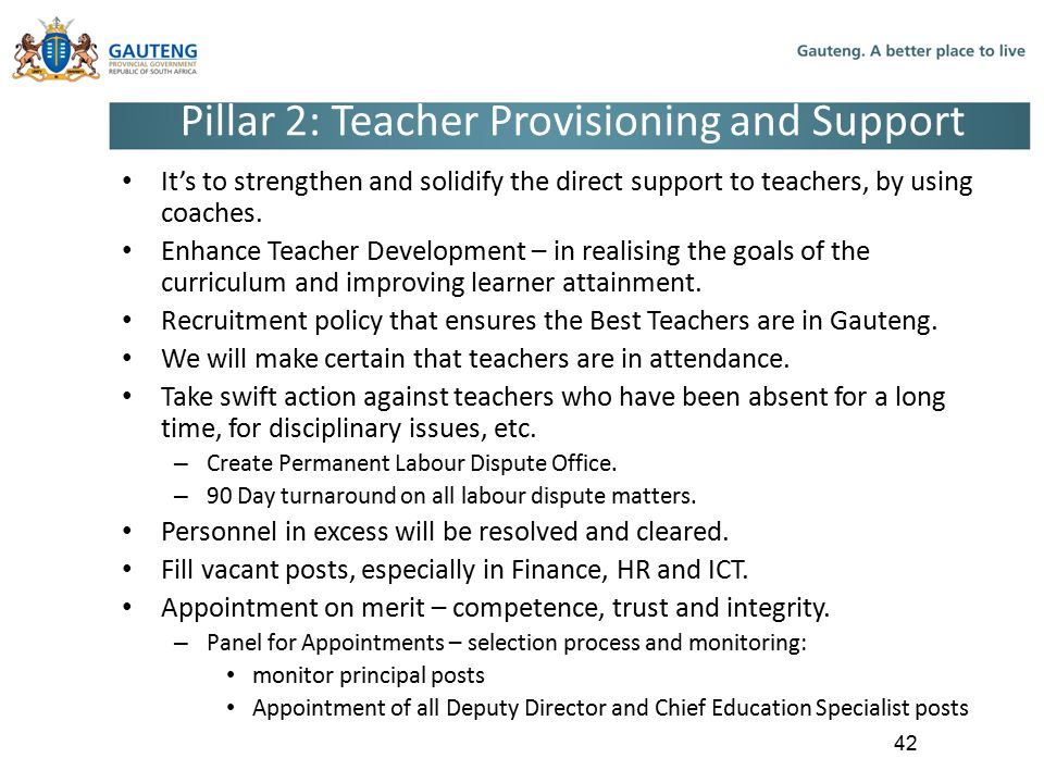 Pillar 2: Teacher Provisioning and Support