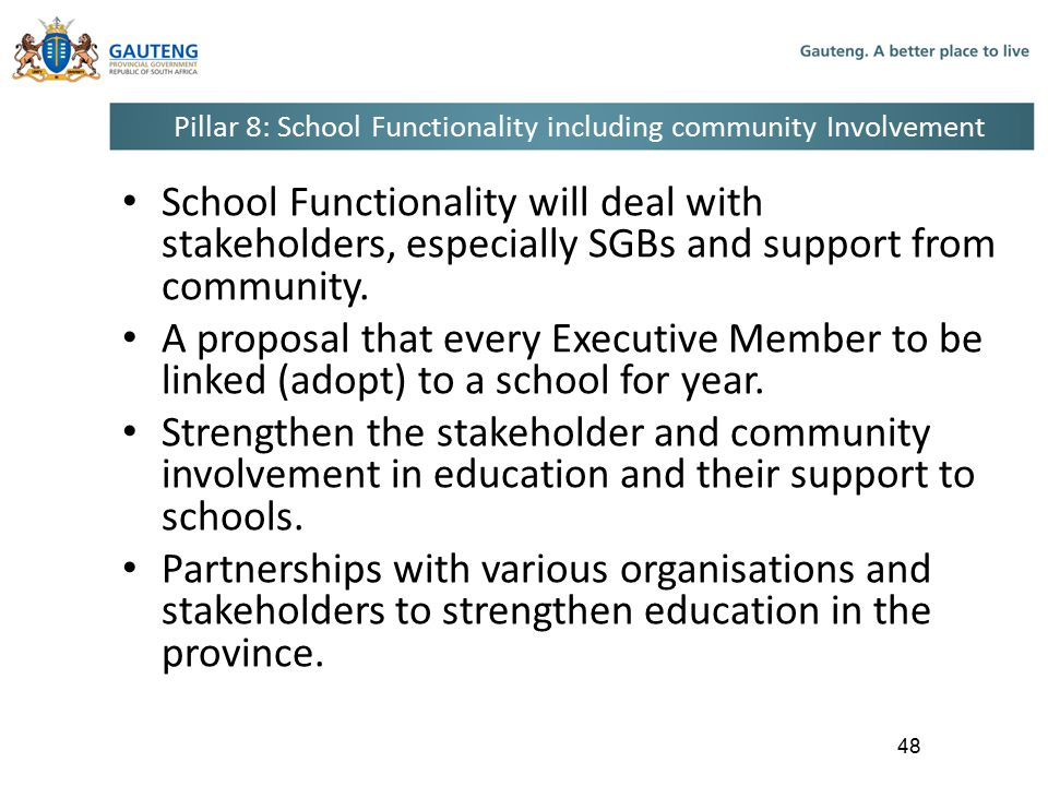 Pillar 8: School Functionality including community Involvement