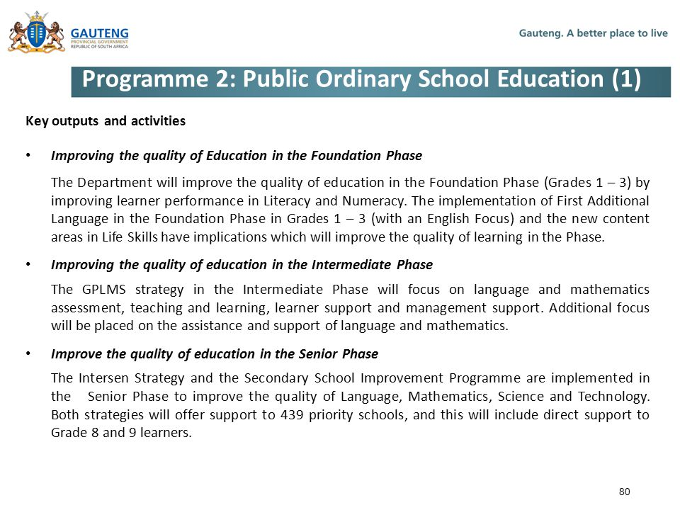 Programme 2: Public Ordinary School Education (1)