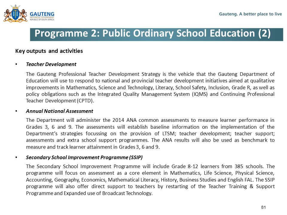 Programme 2: Public Ordinary School Education (2)