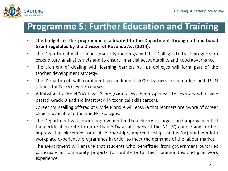 Programme 5: Further Education and Training