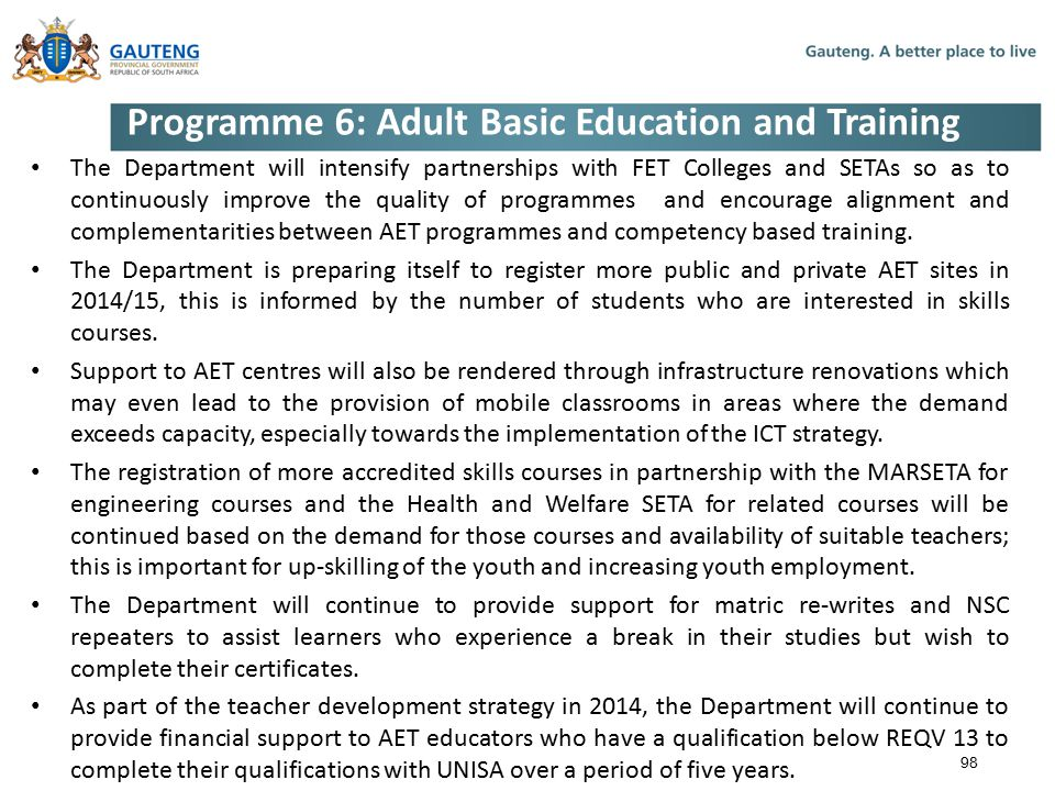 Programme 6: Adult Basic Education and Training