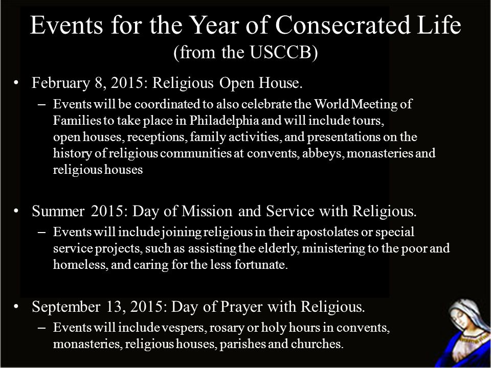 Events for the Year of Consecrated Life (from the USCCB)