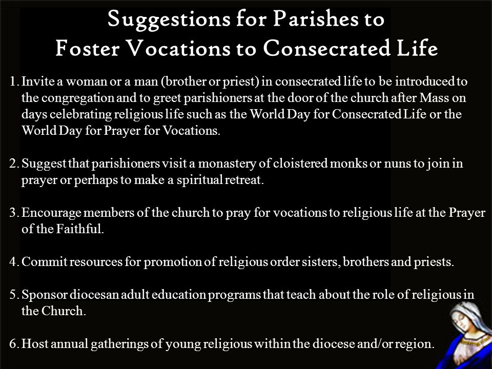 Suggestions for Parishes to Foster Vocations to Consecrated Life