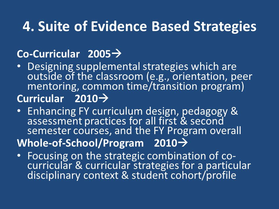 4. Suite of Evidence Based Strategies