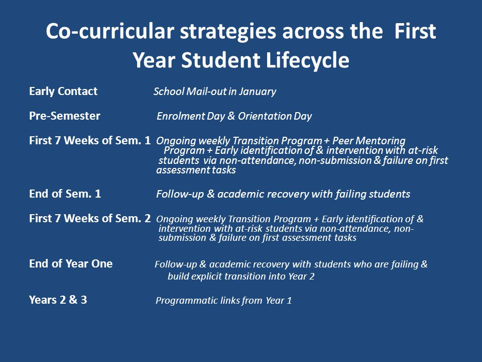 Co-curricular strategies across the First Year Student Lifecycle