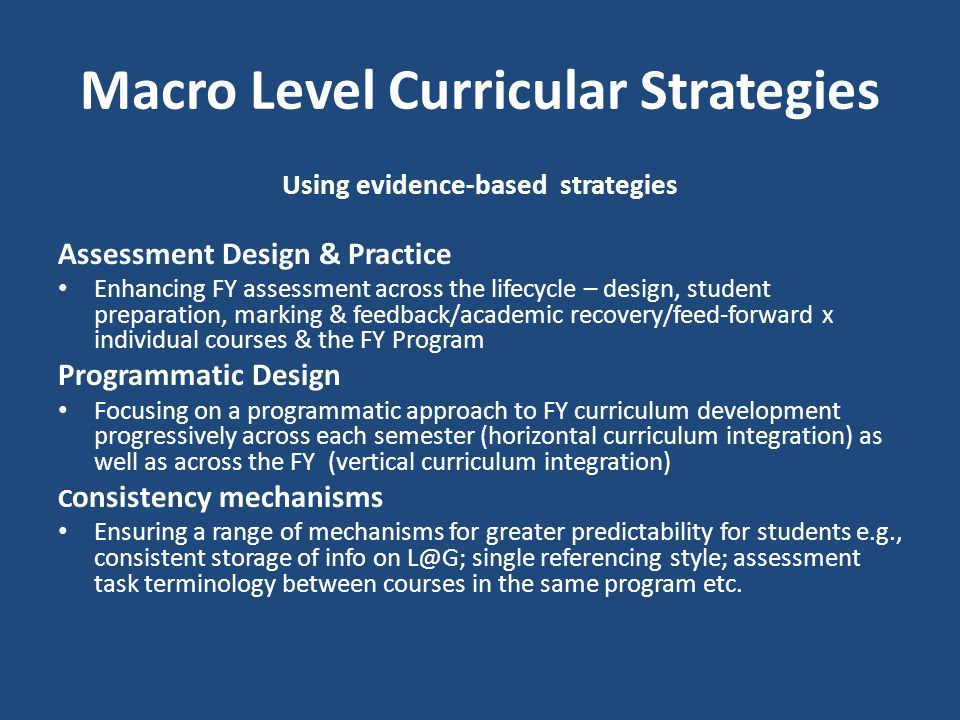 Macro Level Curricular Strategies