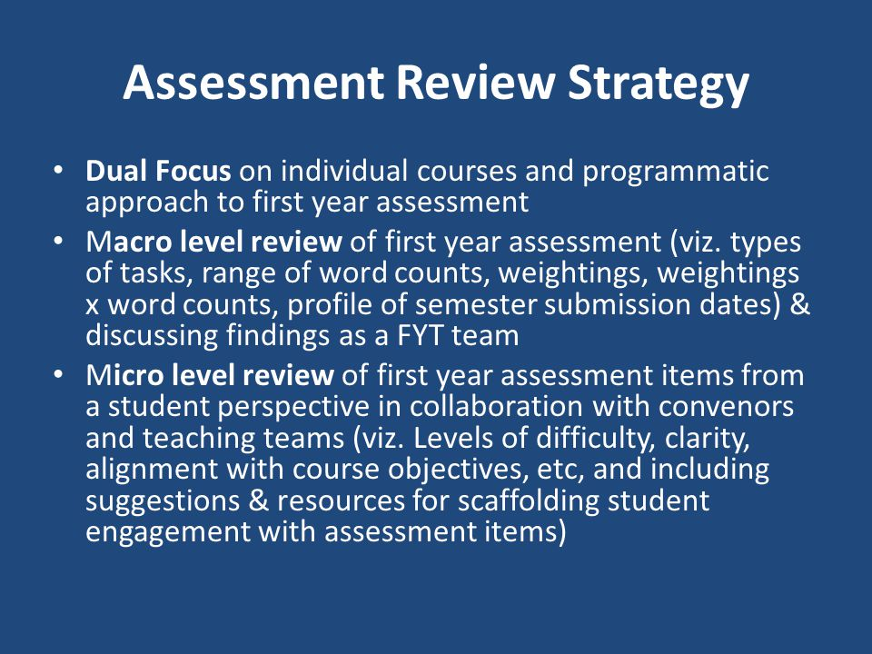 Assessment Review Strategy