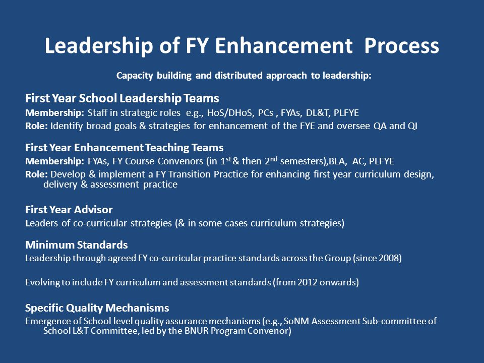 Leadership of FY Enhancement Process
